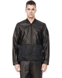 Alexander Wang Long Sleeve Leather Bomber Jacket - Lyst