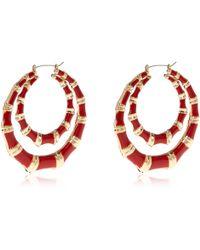 River Island Red Double Creole Hoop Earrings - Lyst