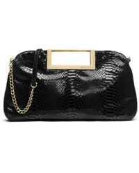 Michael Kors Berkley Large Embossed Patent-Leather Clutch - Lyst