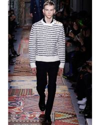 Valentino Striped Embroidered Wool Sweater - Lyst
