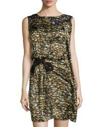 Philosophy di Alberta Ferretti Lace-Inset Printed Dress - Lyst
