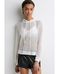 Forever 21 Netted Mesh Hoodie - Lyst
