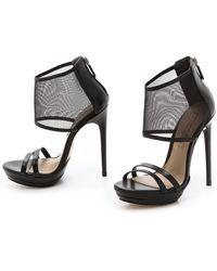 BCBGMAXAZRIA Ferned Mesh Cuff Sandals - Natural - Lyst