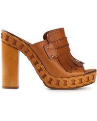 Casadei Open Toe Clog Sandals - Lyst