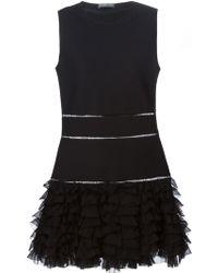 Alexander McQueen Sleeveless Ruffle-Bottom Mini Dress black - Lyst