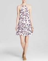 Free People Slip Dress - Printed Ruffled Feather - Lyst