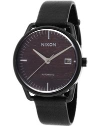 Nixon Mellor Automatic Black Genuine Leather Brown Wood Dial - Lyst