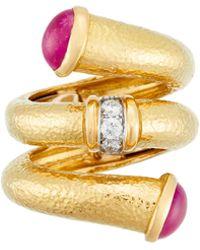 David Webb - 18k Ruby-tip Nail Ring With Diamonds - Lyst