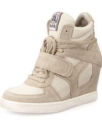 Ash Suede Wedge Sneaker - Lyst