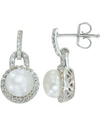 Lord & Taylor - Sterling Silver Freshwater Pearl And White Topaz Earrings - Lyst