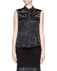 Preen Leia Sheer Satin Graphic Blouse - Lyst