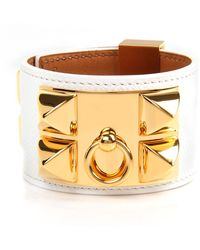 Hermès | White Epsom Leather Collier De Chien Bracelet | Lyst