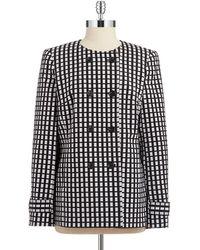 Jones New York Checkered Double-Breasted Blazer - Lyst