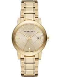 Burberry Ladies Goldtone Watch With Hydraulic Stamp Dial - Lyst