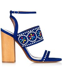 Tabitha Simmons Blaze Bead-Embellished Suede Sandals multicolor - Lyst