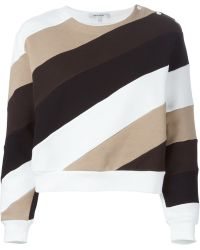 Carven | Diagonal Striped Cropped Sweatshirt | Lyst