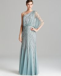 Adrianna Papell Gown One Shoulder Blouson with Beaded Mesh - Lyst