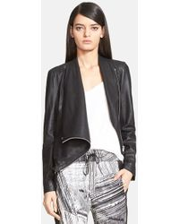 Helmut Lang Women'S Draped Leather Jacket - Lyst
