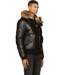 Mackage Black Leather Winter Down Glen Coat in Black for Men | Lyst
