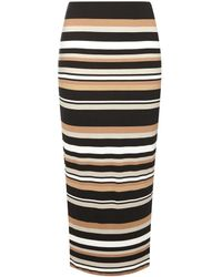 Dorothy Perkins - High Waist Striped Midi Skirt - Lyst