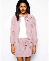 Love Moschino Cotton Zip Front Bomber Jacket with Bow Tie in Tiny Gingham - Lyst