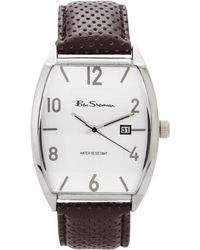 Ben Sherman Bs082 Silver-Tone & Brown Watch