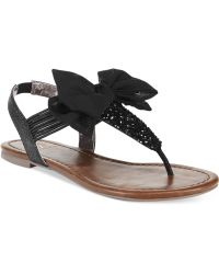 Material Girl Swan Flat Thong Sandals - Lyst