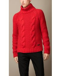 Burberry Cable Knit Alpaca Blend Sweater - Lyst