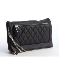 Jimmy Choo Black Leather Quilted Fold Over Crossbody Bag - Lyst