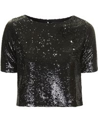 Topshop Two-tone Sequin Tee - Lyst