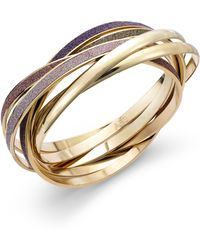 ABS By Allen Schwartz - Goldtone Multicolor Glitter Bangle Bracelet Set - Lyst