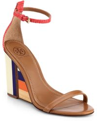 Tory Burch Colorblock Wooden-Wedge Leather Sandals multicolor - Lyst