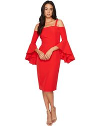 Maggy London - Dream Crepe Cold Shoulder Sheath Dress W/ Cascade Sleeve - Lyst
