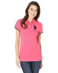 fb29bebfbd Ralph Lauren. U.S. POLO ASSN. - Contrast Patch Big Pony Polo Shirt (coral  Ribbon) Clothing