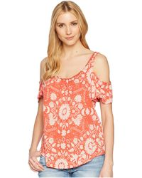 c9c7f6c04461f0 Lucky Brand - Floral Cold Shoulder Top - Lyst
