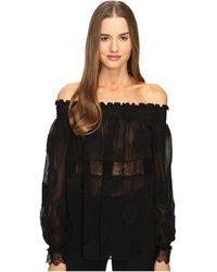Yigal Azrouël - Open Shoulder Smocked Fille Coupe Top - Lyst