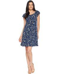 7af2017465c Cece - Puffed Sleeve Graceful Floral Knit Dress - Lyst