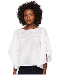 303fb692d8306a Two By Vince Camuto - Textured Grid Drop Shoulder Ruffle Sleeve Blouse  (ultra White)