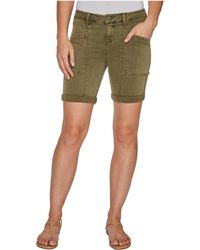 Liverpool Jeans Company - Kylie Cargo Shorts With Flat Patch Pockets On Pigment Dyed Slub Stretch Twill In Olive Night - Lyst