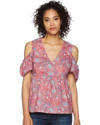 Lucky Brand - Printed Cold Shoulder Top - Lyst