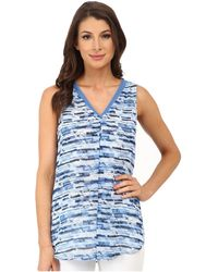 Vince Camuto - Sleeveless Panel Texture Blouse W/ Front Pleat - Lyst
