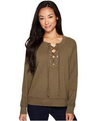 Mod-o-doc - Soft As Cashmere Cotton Interlock Lace-up Sweatshirt - Lyst