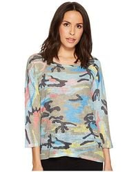 Nally & Millie Colorful Camouflage 3/4 Sleeve Top (multi) Clothing