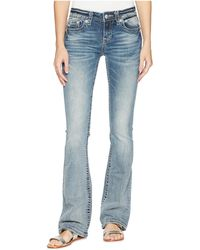 Miss Me - Cross Wing Embellished Bootcut Jeans In Medium Blue - Lyst
