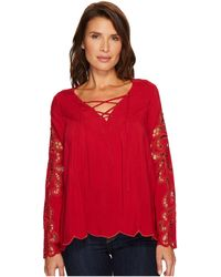 Scully - Cloud Hi/lo Blouse With Crocheted Sleeves - Lyst