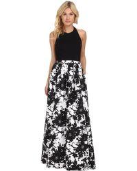 Aidan Mattox - Swirling Abstract Print-skirt Evening Gown - Lyst