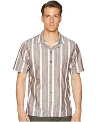 Todd Snyder - Short Sleeve Wide Stripe Shirt (brown) Men's Short Sleeve Button Up - Lyst