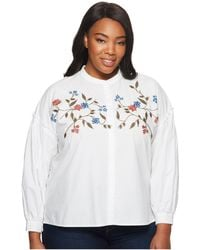 4091c632dbd Two By Vince Camuto - Plus Size Long Sleeve Embroidered Bubble Sleeve  Button Down Shirt -