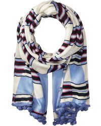 Tory Burch - Via Stripe Logo Oblong Scarf - Lyst