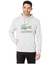 Lacoste - Long Sleeve Graphic Croc Molleton Non Gratte Sweatshirt With Hood (silver Chine) Sweatshirt - Lyst